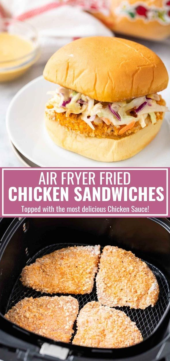 Air Fryer Fried Chicken Sandwiches are topped with the