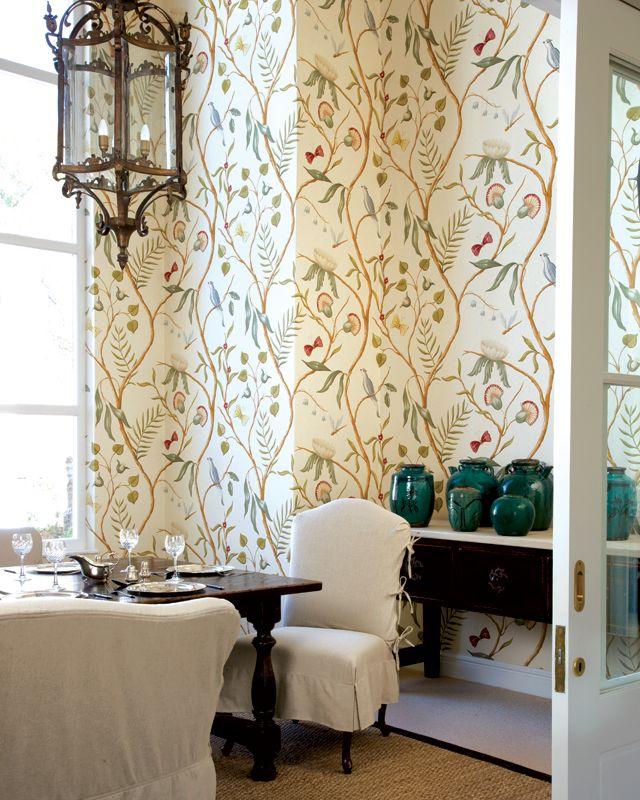 table and sideboard, lantern, wallpaper, jade glazed jars