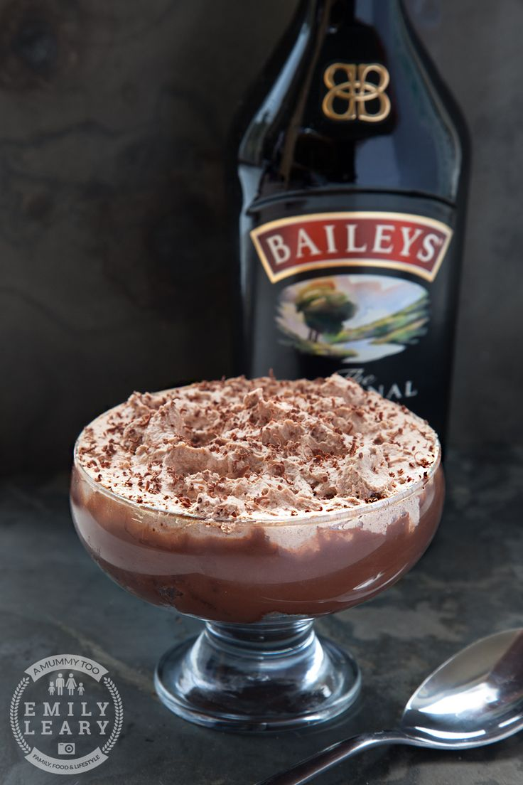 This is a Baileys Triple Chocolate Trifle - dark chocolate sponge, thick Baileys Original Irish Cream infused milk chocolate ganache, Baileys whipped cream.