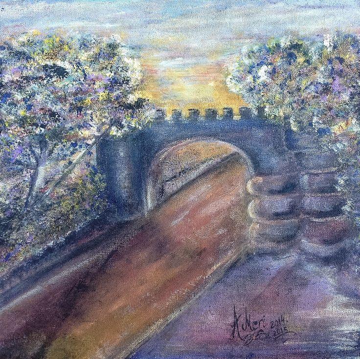 Hampden Bridge, Australian landscape painting by Meri Andric