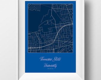 Tennessee State University Campus and Area Street Map in Nashville Tennessee Modern Minimalist Art Print Office or Home Wall Decor