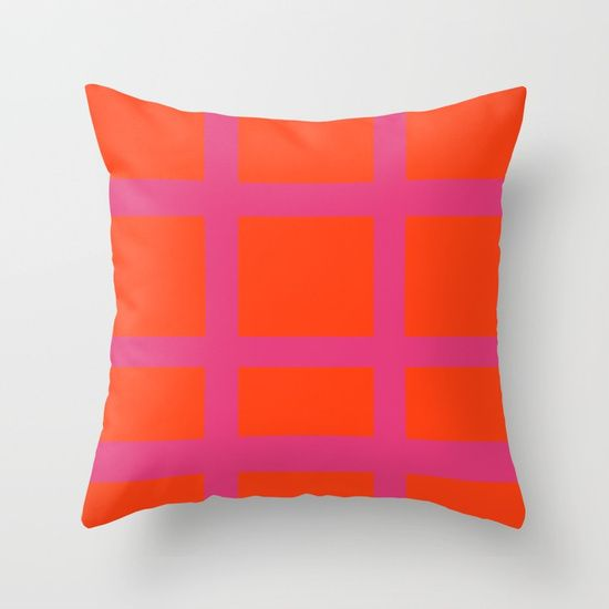 Thick Orange and Pink Grid Throw Pillow by BravelyOptimistic | Society6