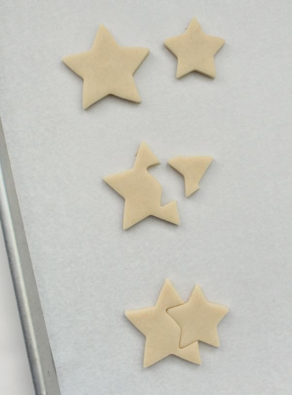 Double Star Cookies using 2 different sizes of star cookie cutters