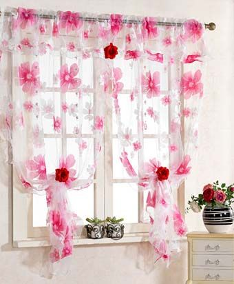 романтические розовые шторы для кухни