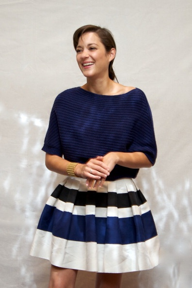 """Let's Obsess Over Marion Cotillard's Non Stop Marathon of New Dior Perfection: In Dior Resort 2013 (Ok technically this was a Bill Gaytten design but still--so cute!) at the """"Rust & Bone"""" Press Conference"""