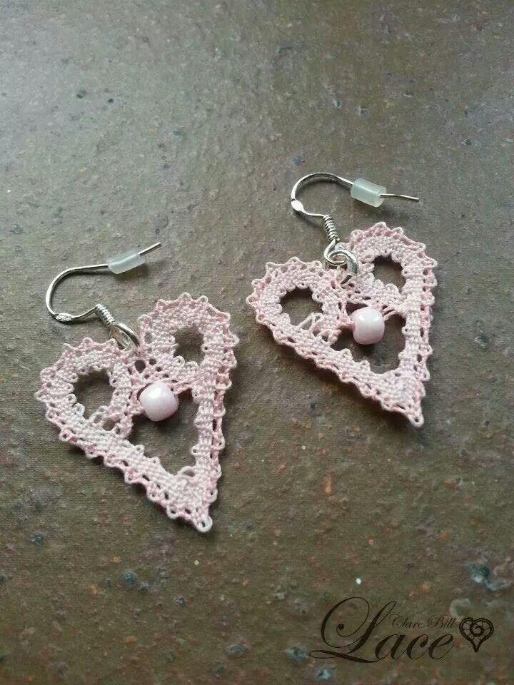 Earrings: variation on tape lace heart design