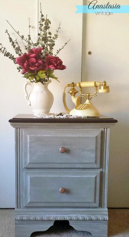 GF Empire Gray Chalk Style Paint Nightstand | Created by Anastasia Vintage