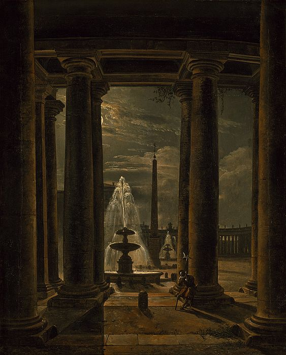 Johan Christian Dahl (1788–1857): St. Peter's Square by moonlight, 1821