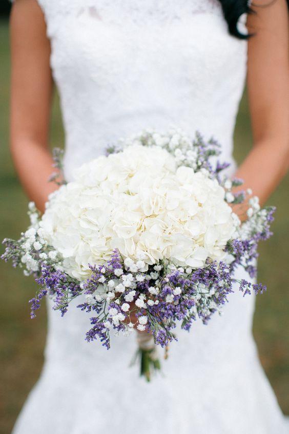 White hydrangea, lavender and baby's breath. <3: