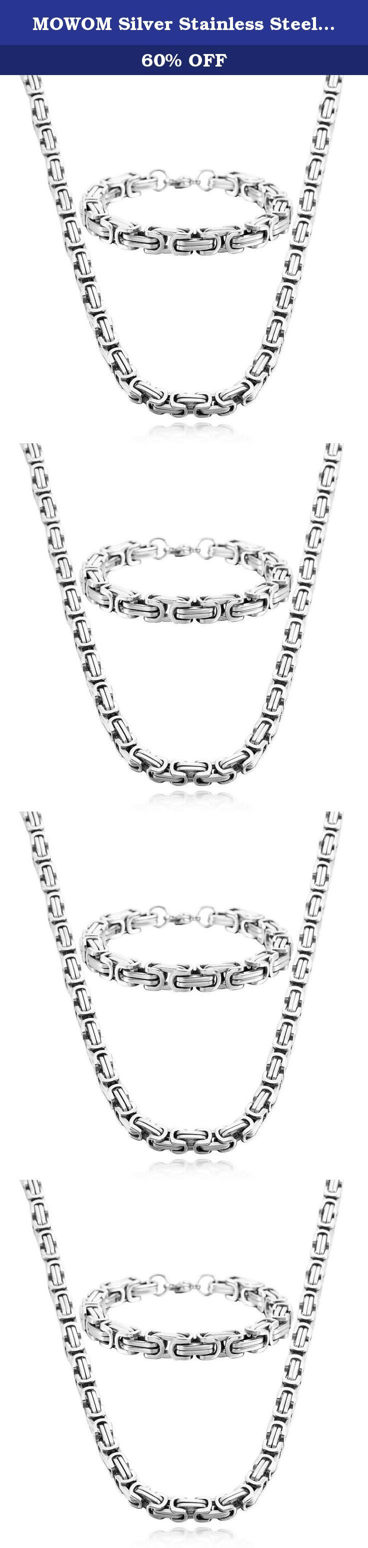 MOWOM Silver Stainless Steel Bracelet Necklace Link Byzantine Chain Set. Silver Stainless Steel Bracelet Necklace Link Byzantine Chain Set.