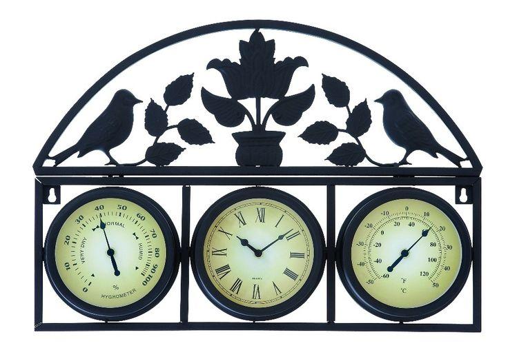 metal wall clock temperature seconds u0026 hour bird design accent home decor wall clocks