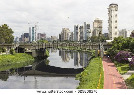 Pinheiros river, Estaiada Bridge - Marginal Pinheiros highway that runs through the city of São Paulo, Brazil.
