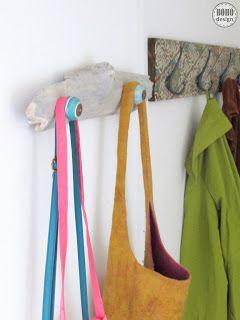BOHO Design - bohém, hippi stílusú otthonok, dekorációk, inspirációk: Fogas, táskatartó uszadékfából