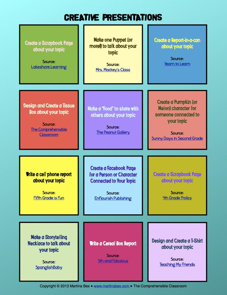 12 creative ways to present a topic, book report, re-tell a story, etc.