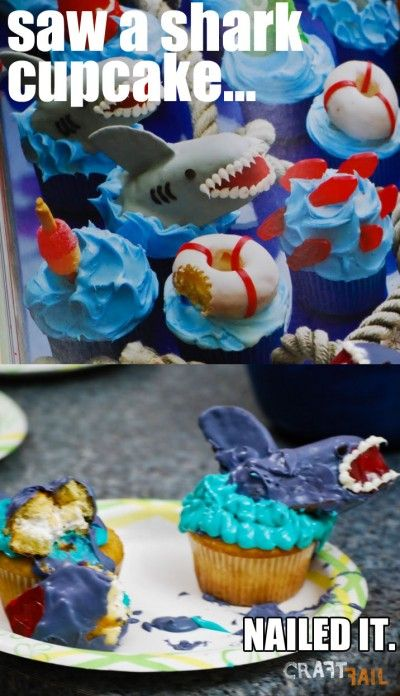 Nailed it: Sharks Cupcakes, Funny, Nails It, Cakes Wreck, Nailedit, Fails Pictures, Shark Cupcakes, Sharks Week, Pinterest Fails