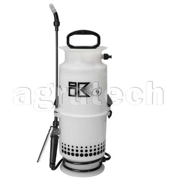 iK 9 Sprayer,  This Compression Sprayer that is suitable for harsher products such as Disinfectant, Degreasing, Truckwash Etc  Made of special, high resistance materials for use with various chemicals, Viton seals incorporated in the range  Applicable for a range of applications - disinfection, animal husbandry, degreasing, carpet cleaning, maintenance, diesel, truckwash, etc  Strong polypropylene tank with level indicator