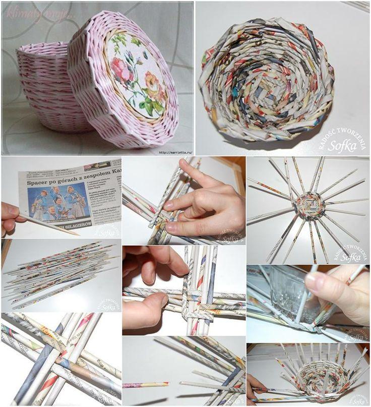 cesta de papel reciclado con decoupage