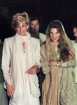 Diana and Jemima Khan with Imran Khan in the background in Pakistan