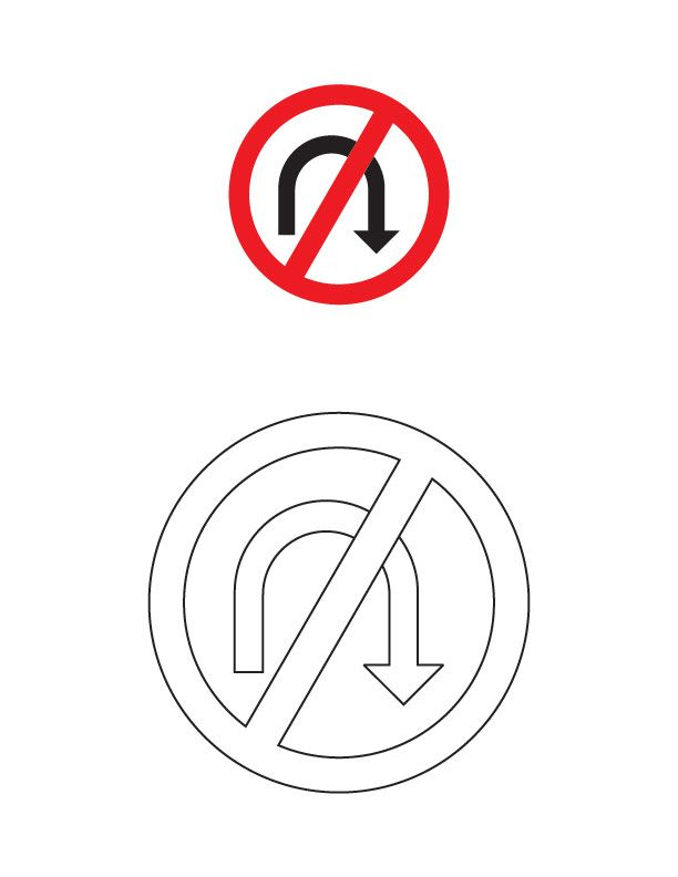 No U Turn Traffic Sign Coloring Page Seguridad