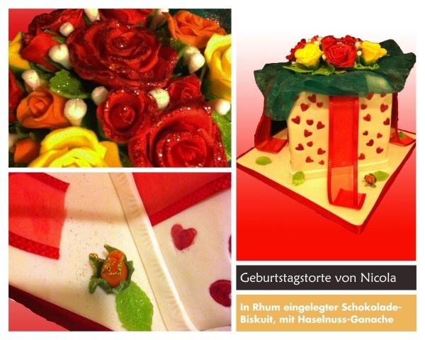 Birthday cake, gift box with roses