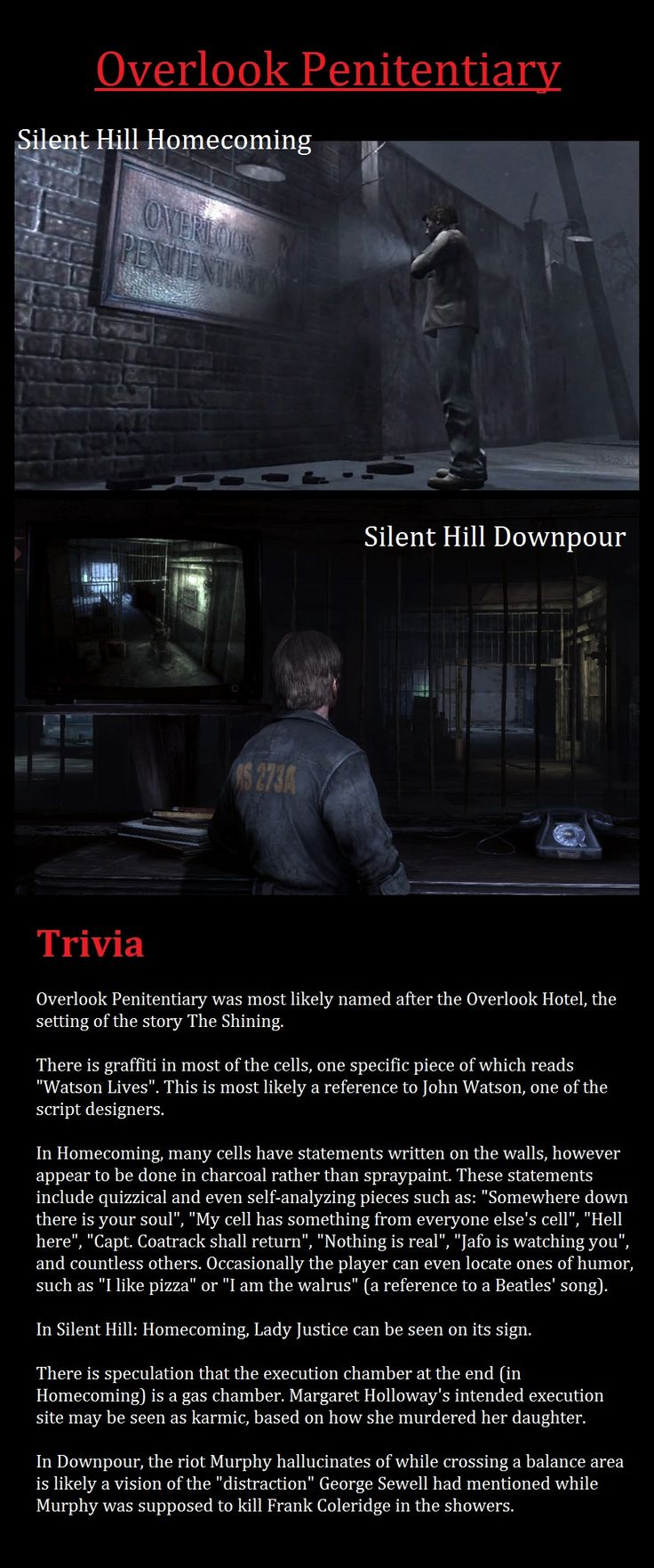 Silent Hill Homecoming & Silent Hill Downpour - Trivia - Overlook Penitentiary
