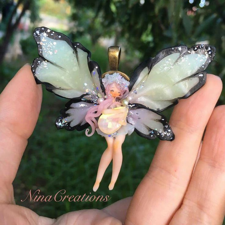 Polymer clay butterfly fairy pendant