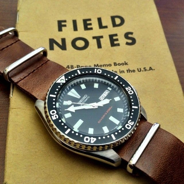 Seiko and Field Notes! Seiko divers with leather nato strap