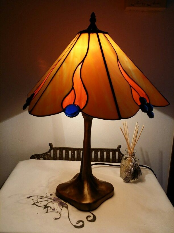 Fire stained glass lamp