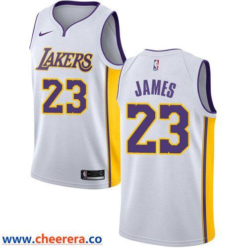 447117be5 Men s Nike Los Angeles Lakers  23 LeBron James White NBA Swingman  Association Edition Jersey
