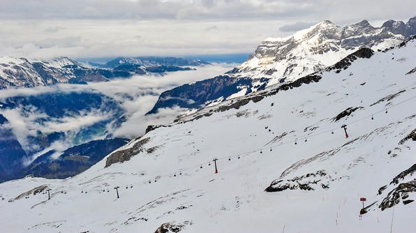 Switzerland- A panoramic view of Mount Titlis in the Urner Alps of Switzerland.Tv Show