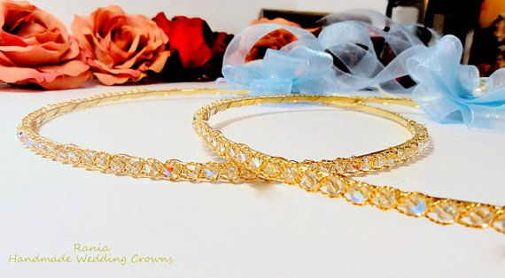 Buy Handmade Swarovski Stefana.Orthodox Wedding crowns.Gold Plated Stephana.Wedding Headband.Στεφανα.EMBROIDERY. by raniacreations. Explore more products on http://raniacreations.etsy.com