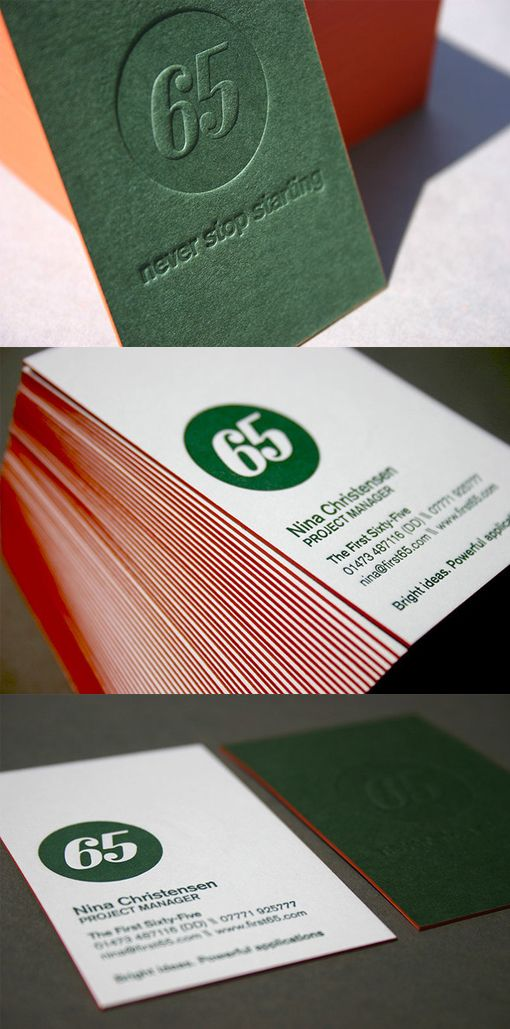 Striking Textured Letterpress And Edge Painted Business Card
