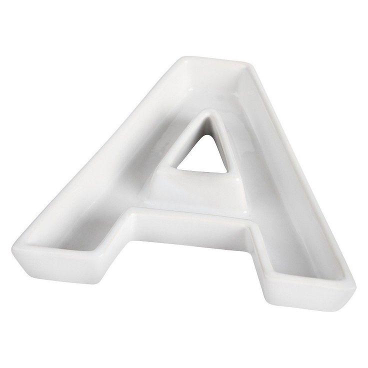 White Ceramic Letter Dish -