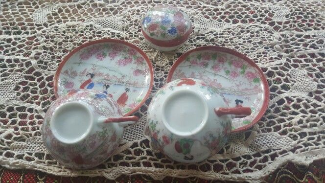 Vintage Japanese Porcelain Handpainted Geishas or Ladies Collectible from the 1930's