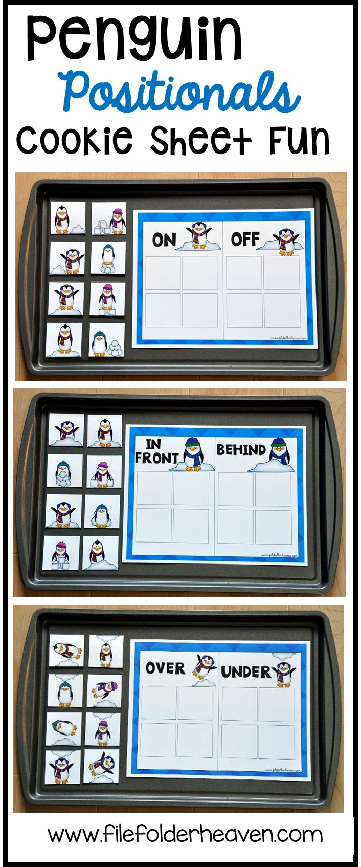 These Penguin Positionals Cookie Sheet Activities include eight unique cookie sheet activities that focus on position words and concepts. In each activity, students sort pictures of penguins into two categories based on their positions.