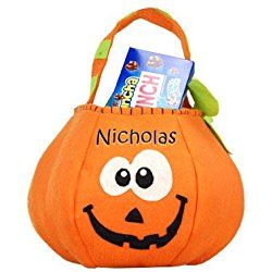 "Pumpkin Trick or Treat Bag, 8"" H with a 7"" Opening, Durable Felt Halloween Bag, Personalized Halloween Bag, Embroidered Halloween Bag"