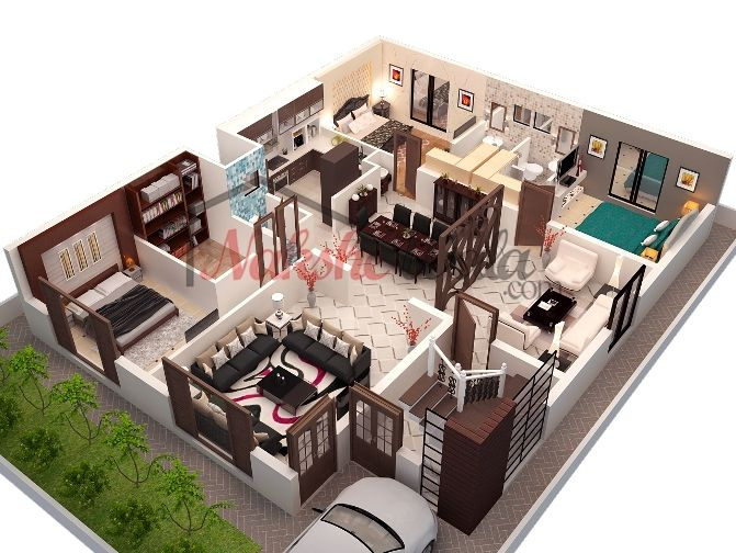 3d floor plans 3d house design 3d house plan customized for Home design 3d gratis italiano