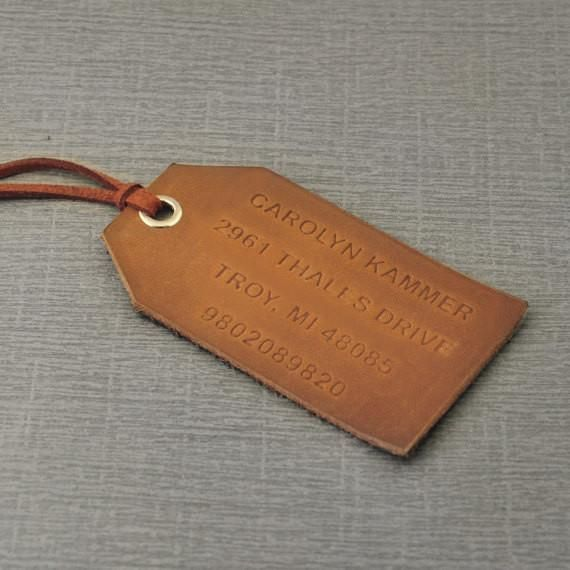 Free shipping -Luggage Tag Holder, Leather Tag, Custom Leather Tag, Leather Luggage Tag,Personalized Luggage Tag