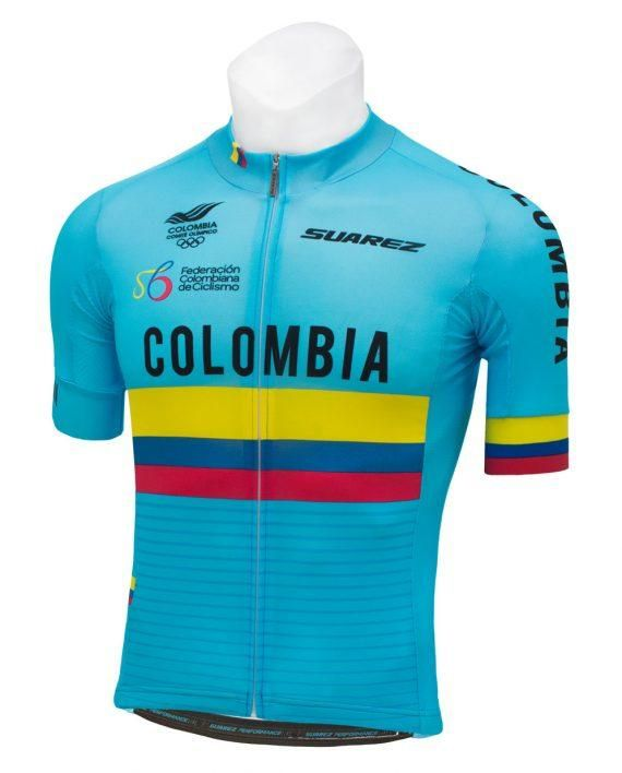 Long Sleeve Cycling Jersey in Blue 2018 Suarez Colombian National Fed​ Men/'s