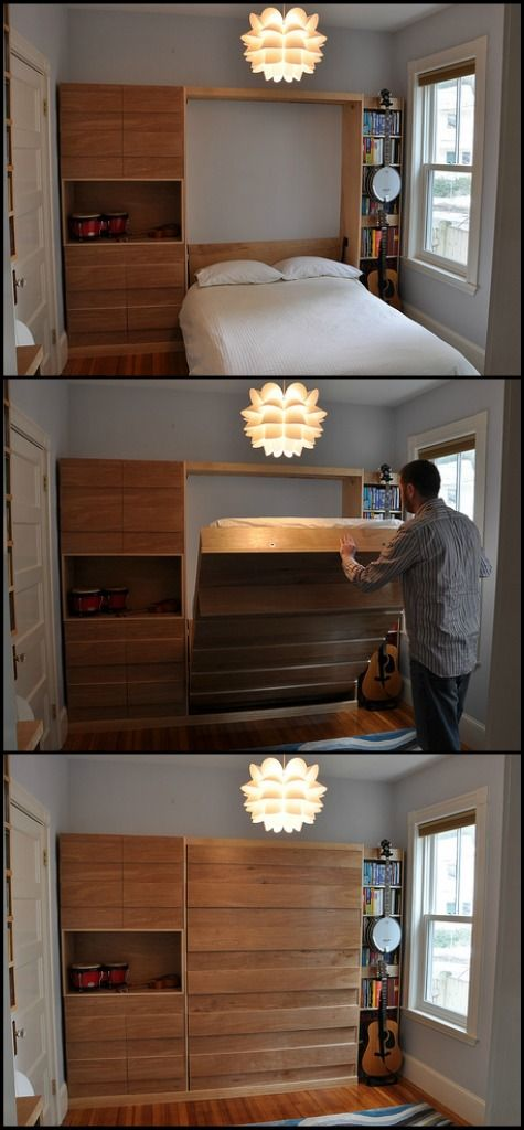 a murphy bed which is a bed that folds up into the wall home ideas pinterest the wall. Black Bedroom Furniture Sets. Home Design Ideas