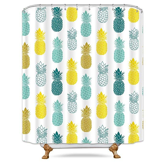 Riyidecor Colorful Pineapple Shower Curtain 72x78 Inch Free Metal Hooks 12 Pack Blue Green Yellow