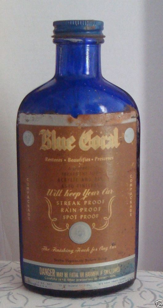 Vintage 1950 Blue Coral Car Wax Cobalt Blue 12 Oz Glass