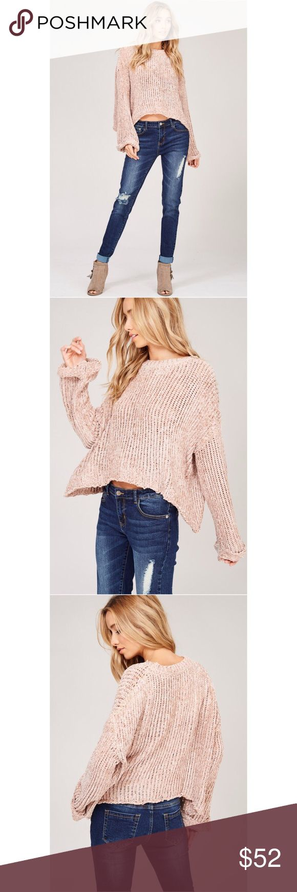 Chenille knit pullover sweater Chenille knit pullover sweater - round neck - bell sleeves - loose fit. Pre-order please allow 5-7 business days to ship. Expect shipping date 11-15  📌NO TRADES 📌PRICE IS FIRM Sweaters Crew & Scoop Necks