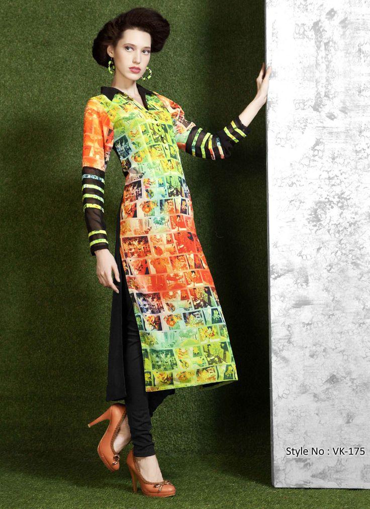 Blissful Polyester Georgette Digital Printed Long Kurtis collection only on http://www.wholesalesalwar.com/kurtis/catalog