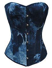 Modrá Ink Gradace plátno Gothic Lolita Korzet – USD $ 19.99