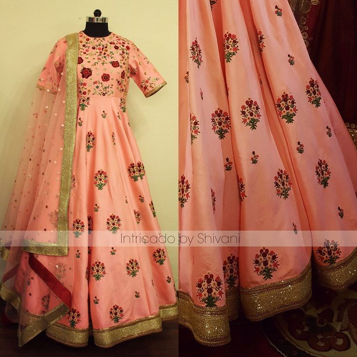 Hand embroidered floor length in pure silk !!To customize/order/enquiry email at shivani@intricado.com Whatsapp at +918527463626 04 March 2017