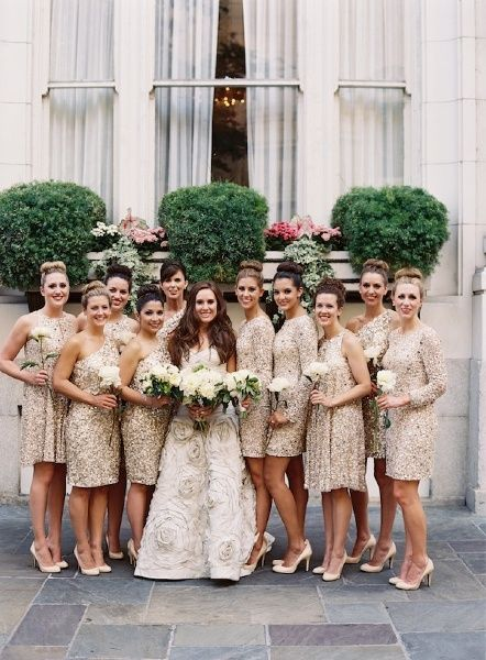 I absolutely love these dresses!! I want them all sparkly and different styles is perfect! -15 Pretty Perfect Sequin Bridesmaids Dresses - Aisle Perfect