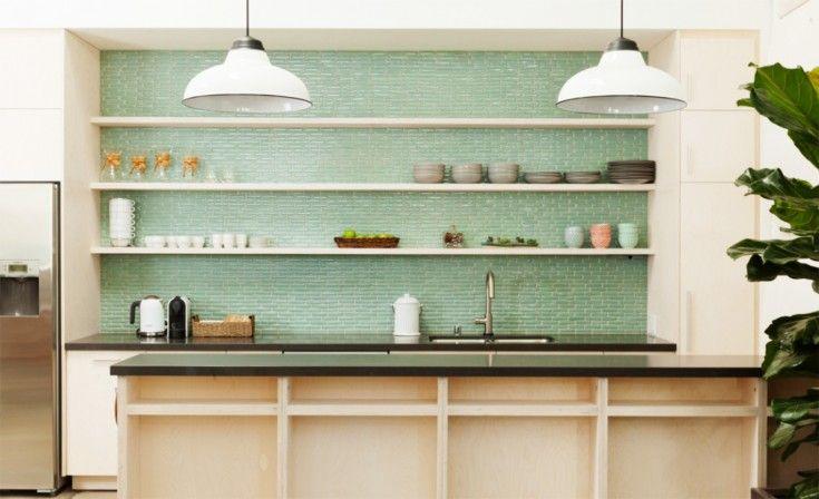 Green Glass Subway Tiles For Kitchen Backsplashes in Kitchen Idea