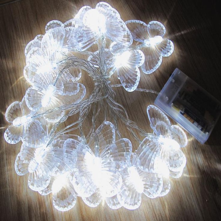 50 LED Butterfly Shaped String lights Battery Powered - 26ft - 3 Colors