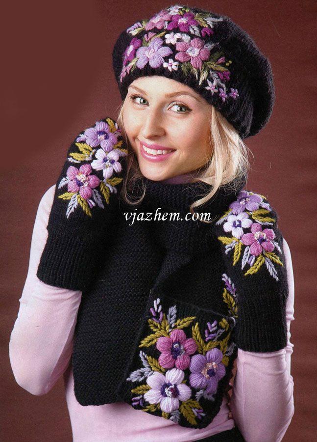 Комплект (берет шарф и варежки) с вышивкой